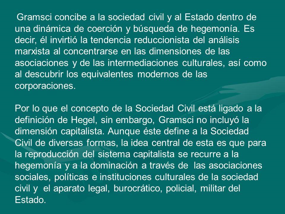 Gramsci concibe a la sociedad civil y al Estado dentro de una dinámica de coerción y búsqueda de hegemonía. Es decir, él invirtió la tendencia reducci