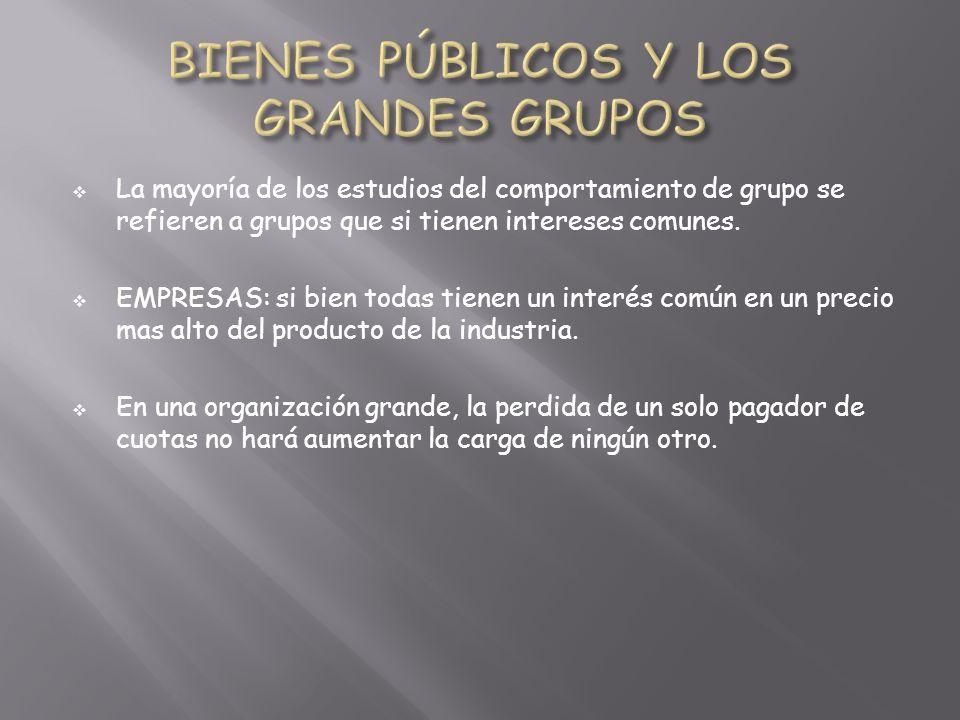 La mayoría de los estudios del comportamiento de grupo se refieren a grupos que si tienen intereses comunes.