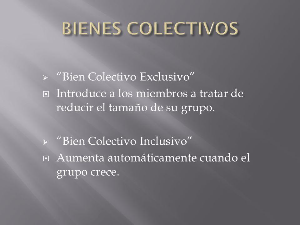 Bien Colectivo Exclusivo Introduce a los miembros a tratar de reducir el tamaño de su grupo. Bien Colectivo Inclusivo Aumenta automáticamente cuando e