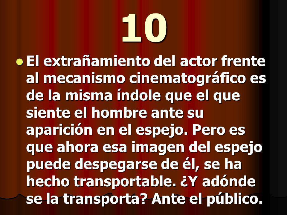 10 El extrañamiento del actor frente al mecanismo cinematográfico es de la misma índole que el que siente el hombre ante su aparición en el espejo.
