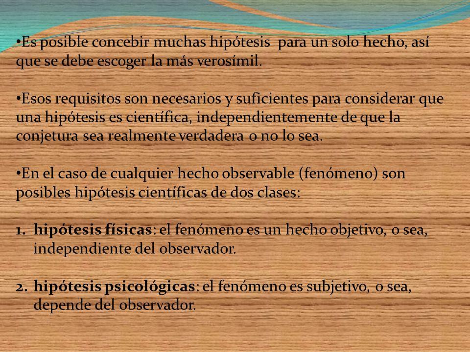 FORMULACION DE LA HIPOTESIS En la ciencia se imponen tres requisitos principales a la formulación (que no es sin más la aceptación) de las hipótesis: