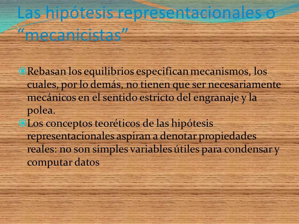 Las hipótesis fenomenológicas Son aquellas que, ya contengan conceptos observacionales, ya sean construcciones abstractas no se refieren al funcionami