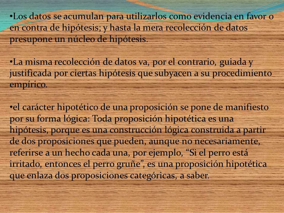 Un dato no es una hipótesis: cualquier hipótesis va más allá de la evidencia (datos) que intenta explicar. Las hipótesis no expresan experiencias simp