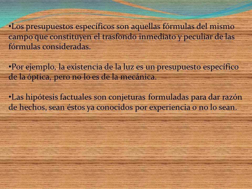 Son hipótesis todos los supuestos iníciales (axiomas) de una teoría, formal o factual; se distinguen de las demás hipótesis de una teoría llamándolas