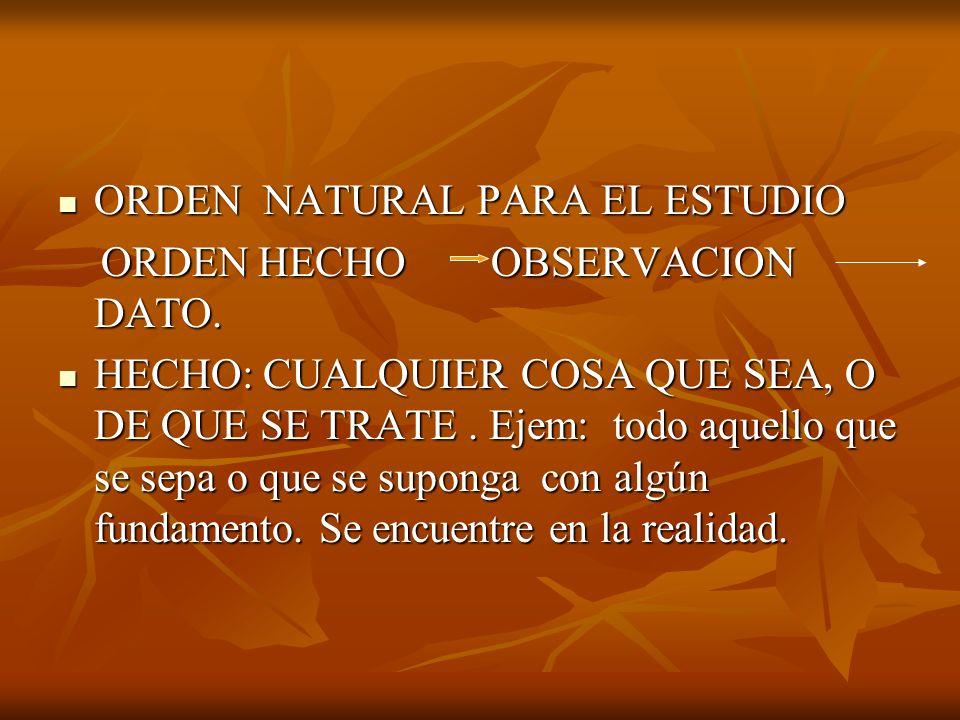 ORDEN NATURAL PARA EL ESTUDIO ORDEN NATURAL PARA EL ESTUDIO ORDEN HECHO OBSERVACION DATO. ORDEN HECHO OBSERVACION DATO. HECHO: CUALQUIER COSA QUE SEA,