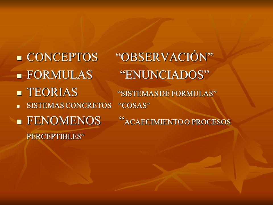 CONCEPTOS OBSERVACIÓN CONCEPTOS OBSERVACIÓN FORMULAS ENUNCIADOS FORMULAS ENUNCIADOS TEORIAS SISTEMAS DE FORMULAS TEORIAS SISTEMAS DE FORMULAS SISTEMAS