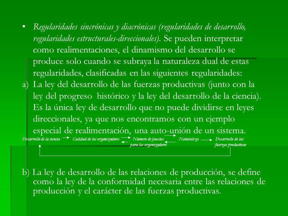 Regularidades sincrónicas y diacrónicas (regularidades de desarrollo, regularidades estructurales-direccionales). Se pueden interpretar como realiment
