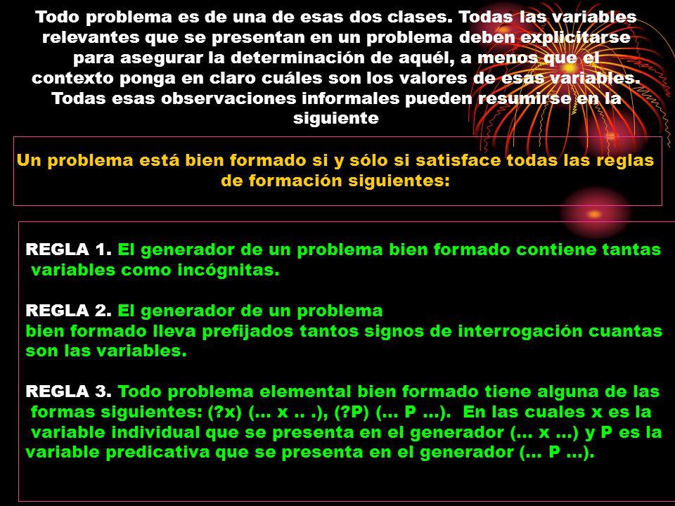 Todo problema es de una de esas dos clases. Todas las variables relevantes que se presentan en un problema deben explicitarse para asegurar la determi