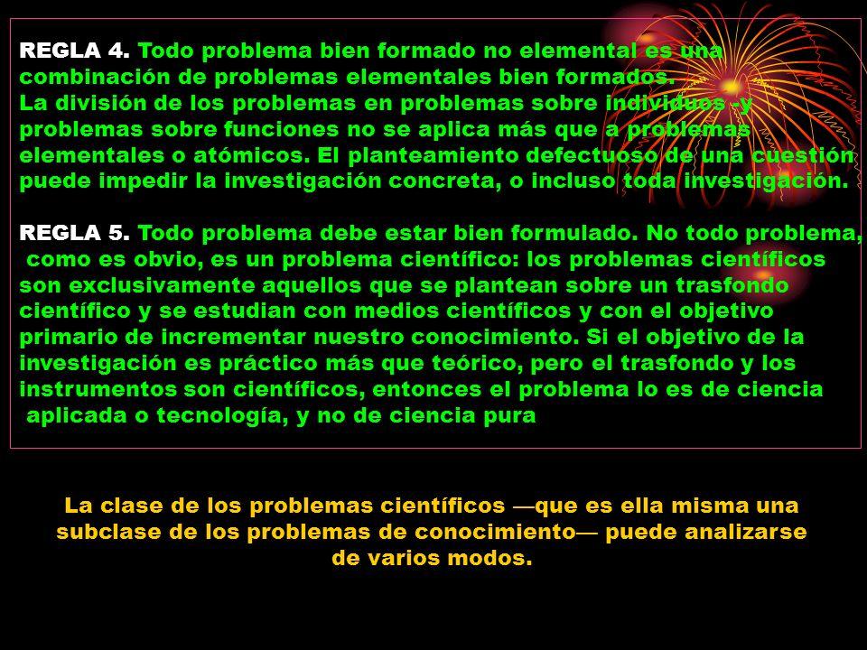 REGLA 4. Todo problema bien formado no elemental es una combinación de problemas elementales bien formados. La división de los problemas en problemas