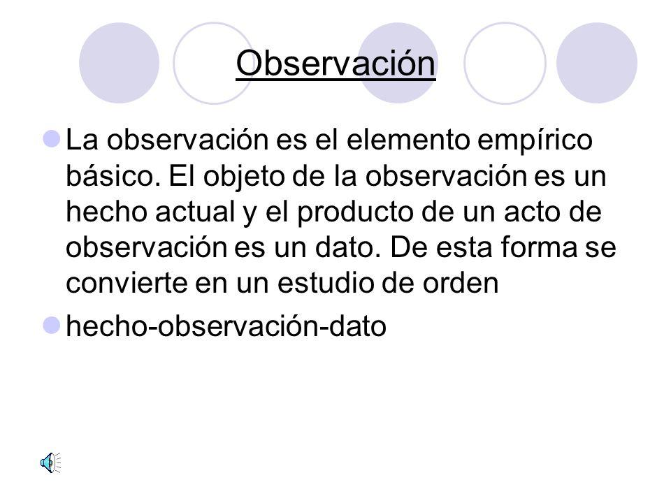 Observación La observación es el elemento empírico básico.
