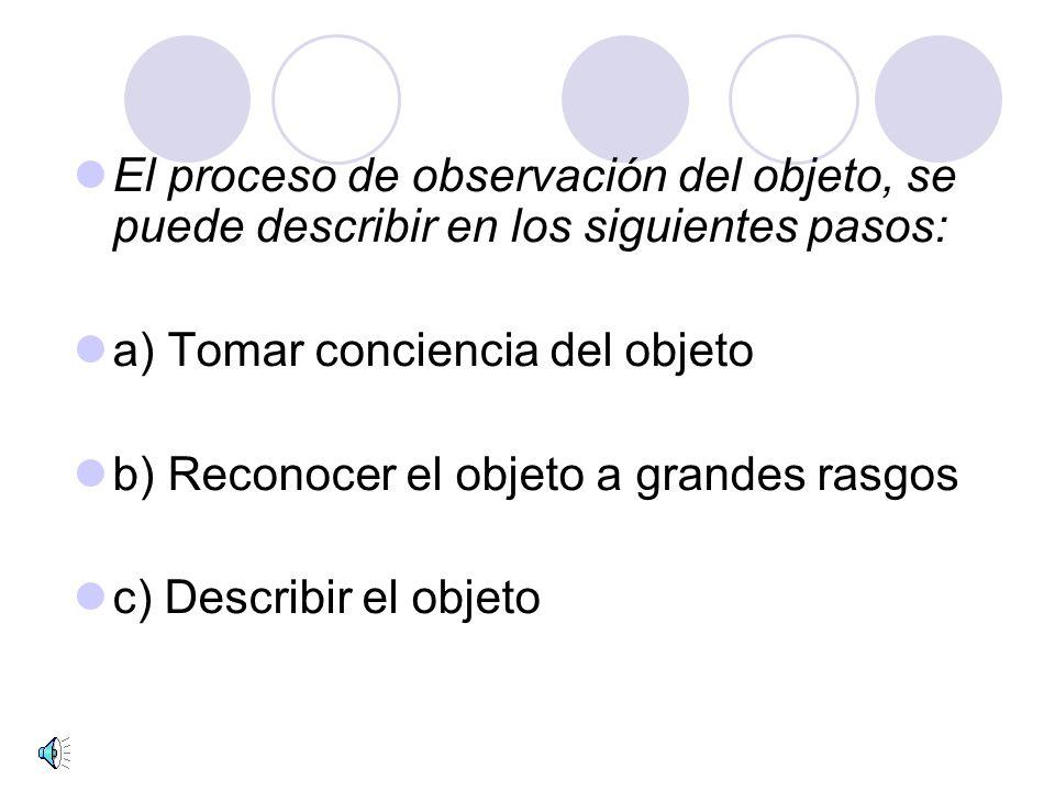 El proceso de observación del objeto, se puede describir en los siguientes pasos: a) Tomar conciencia del objeto b) Reconocer el objeto a grandes rasgos c) Describir el objeto