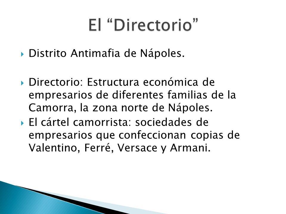 Distrito Antimafia de Nápoles. Directorio: Estructura económica de empresarios de diferentes familias de la Camorra, la zona norte de Nápoles. El cárt