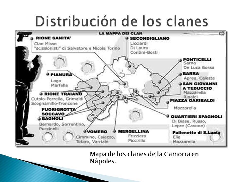Mapa de los clanes de la Camorra en Nápoles.