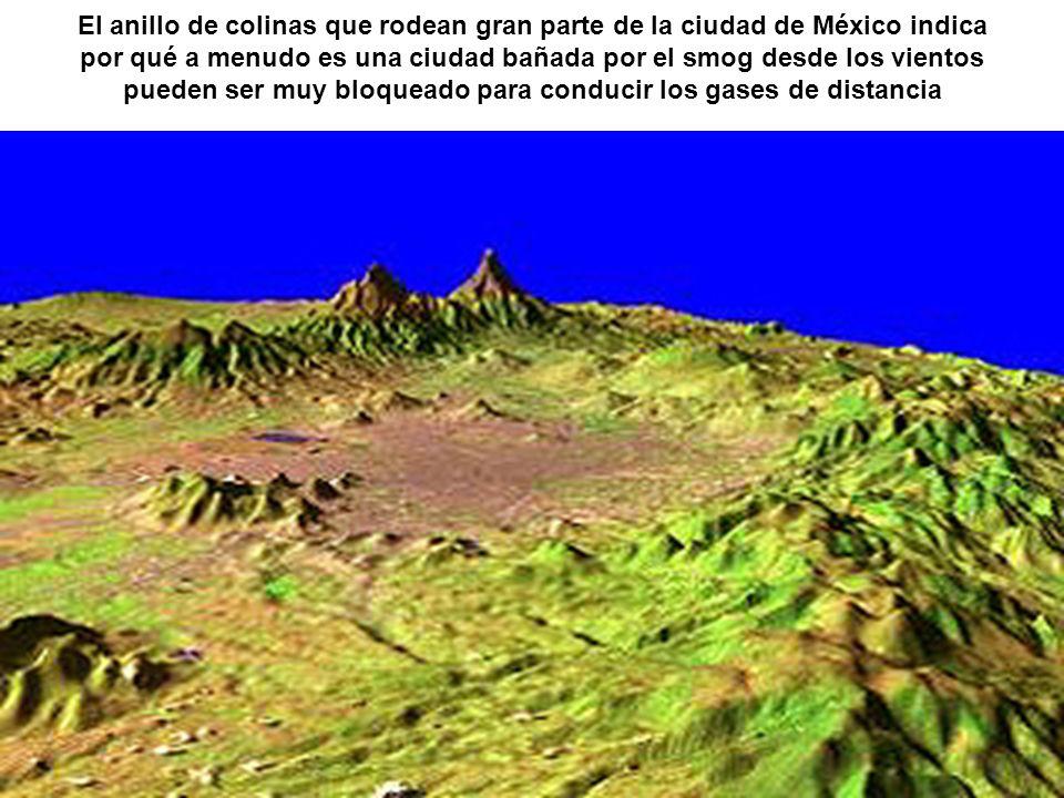El anillo de colinas que rodean gran parte de la ciudad de México indica por qué a menudo es una ciudad bañada por el smog desde los vientos pueden se