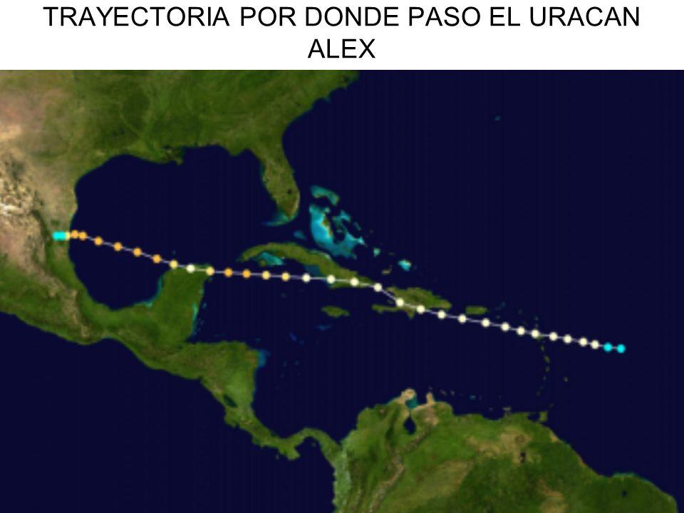 TRAYECTORIA POR DONDE PASO EL URACAN ALEX