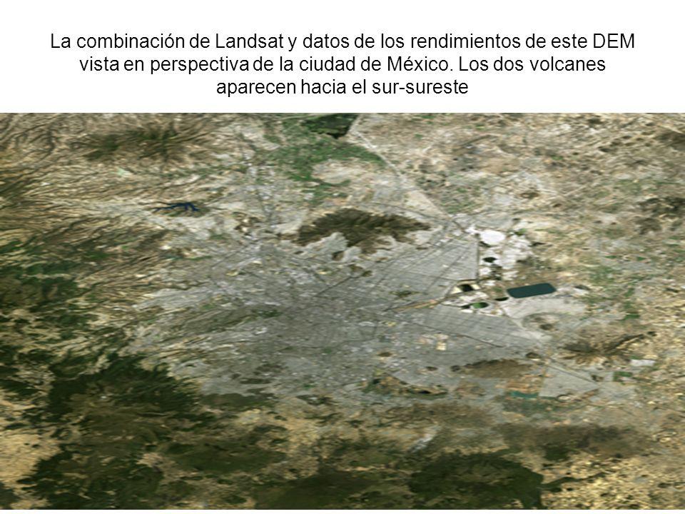 La combinación de Landsat y datos de los rendimientos de este DEM vista en perspectiva de la ciudad de México. Los dos volcanes aparecen hacia el sur-