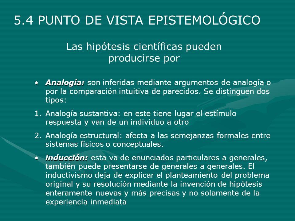 5.4 PUNTO DE VISTA EPISTEMOLÓGICO Las hipótesis científicas pueden producirse por Analogía:Analogía: son inferidas mediante argumentos de analogía o p