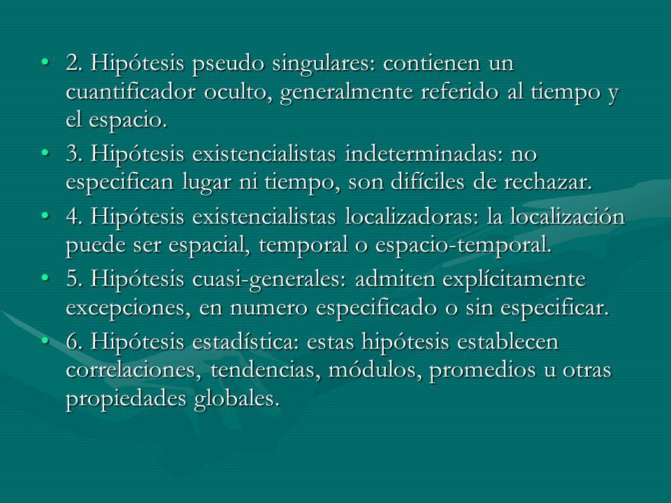 2. Hipótesis pseudo singulares: contienen un cuantificador oculto, generalmente referido al tiempo y el espacio.2. Hipótesis pseudo singulares: contie
