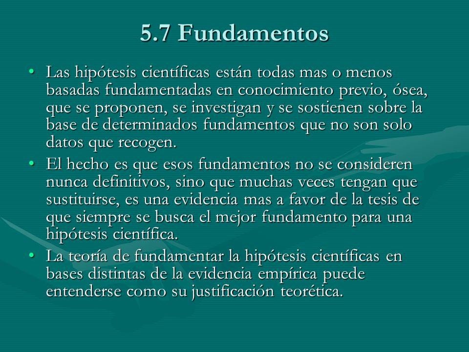 5.7 Fundamentos Las hipótesis científicas están todas mas o menos basadas fundamentadas en conocimiento previo, ósea, que se proponen, se investigan y