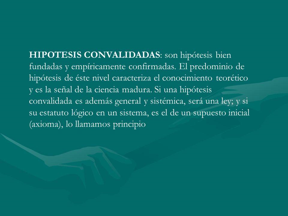 HIPOTESIS CONVALIDADAS: son hipótesis bien fundadas y empíricamente confirmadas. El predominio de hipótesis de éste nivel caracteriza el conocimiento