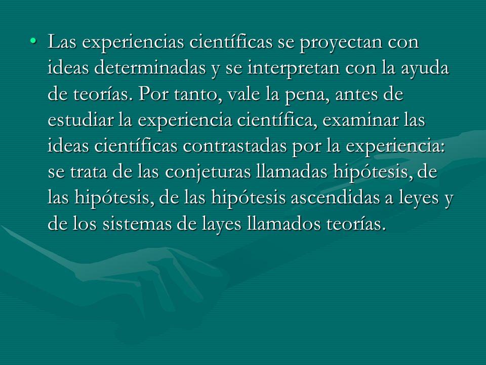 Las experiencias científicas se proyectan con ideas determinadas y se interpretan con la ayuda de teorías. Por tanto, vale la pena, antes de estudiar