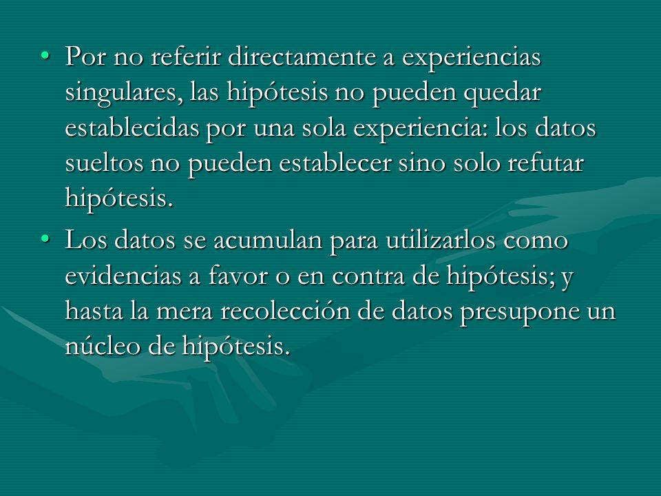 1.Hipótesis de correlato experiencial. Se refieren a hechos experiencias y fenómenos.1.