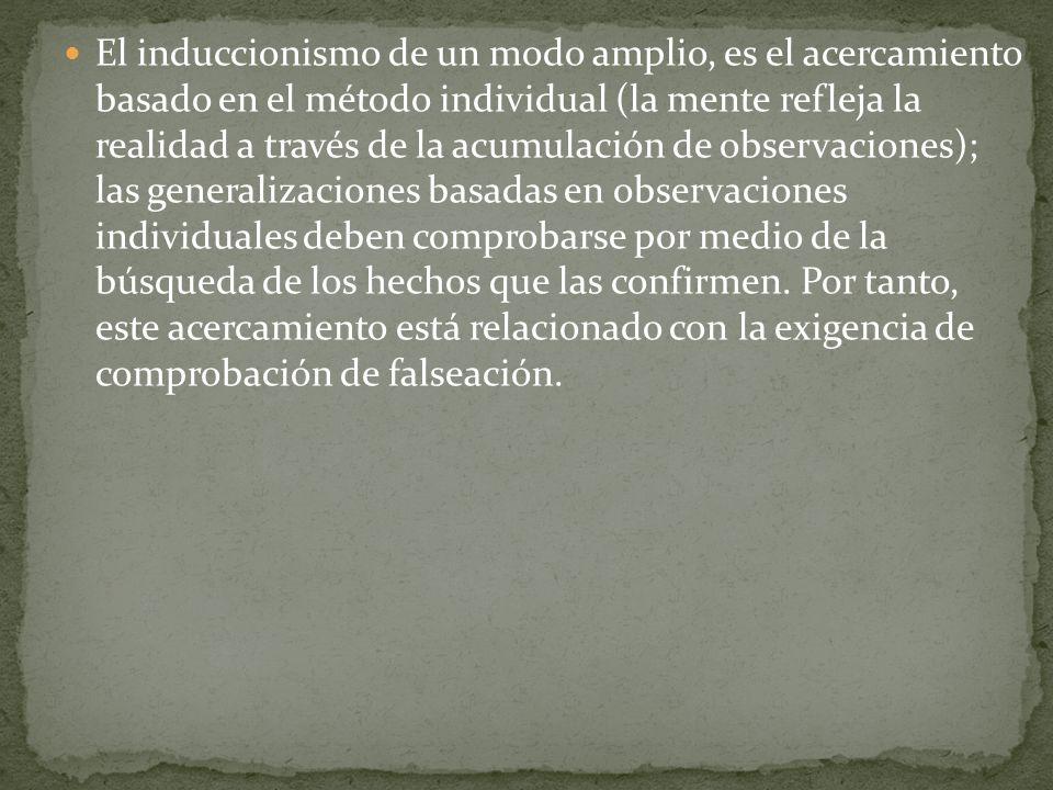 El induccionismo de un modo amplio, es el acercamiento basado en el método individual (la mente refleja la realidad a través de la acumulación de obse