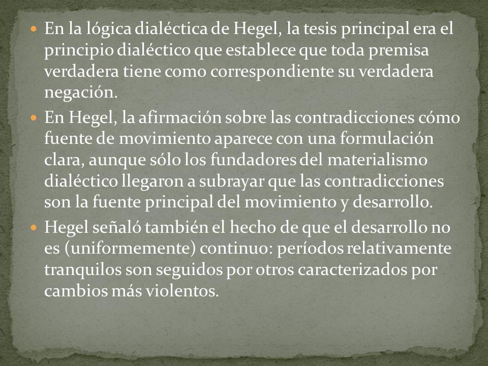En la lógica dialéctica de Hegel, la tesis principal era el principio dialéctico que establece que toda premisa verdadera tiene como correspondiente s