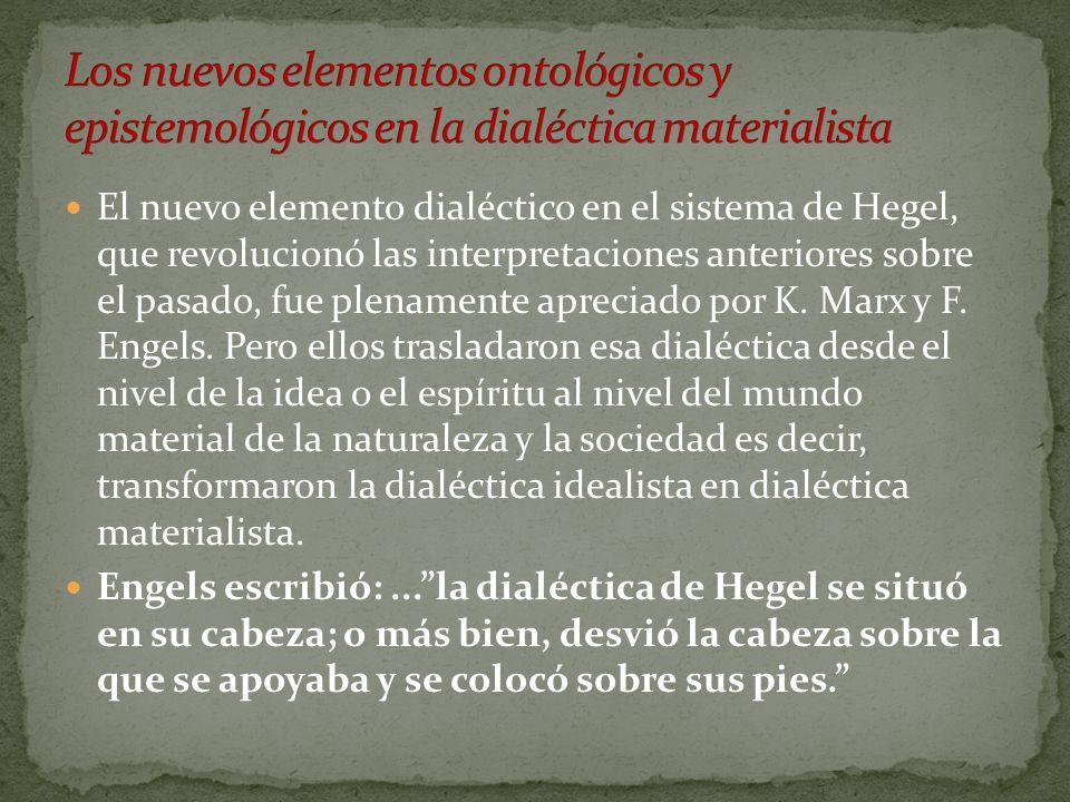 El nuevo elemento dialéctico en el sistema de Hegel, que revolucionó las interpretaciones anteriores sobre el pasado, fue plenamente apreciado por K.