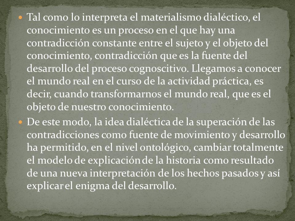 Tal como lo interpreta el materialismo dialéctico, el conocimiento es un proceso en el que hay una contradicción constante entre el sujeto y el objeto