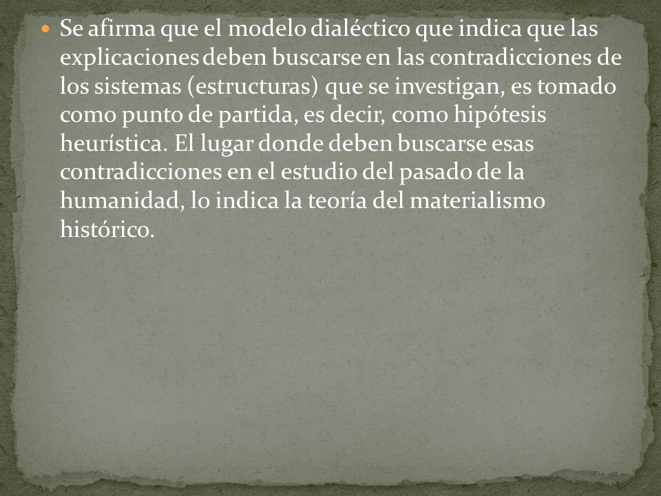 Se afirma que el modelo dialéctico que indica que las explicaciones deben buscarse en las contradicciones de los sistemas (estructuras) que se investi