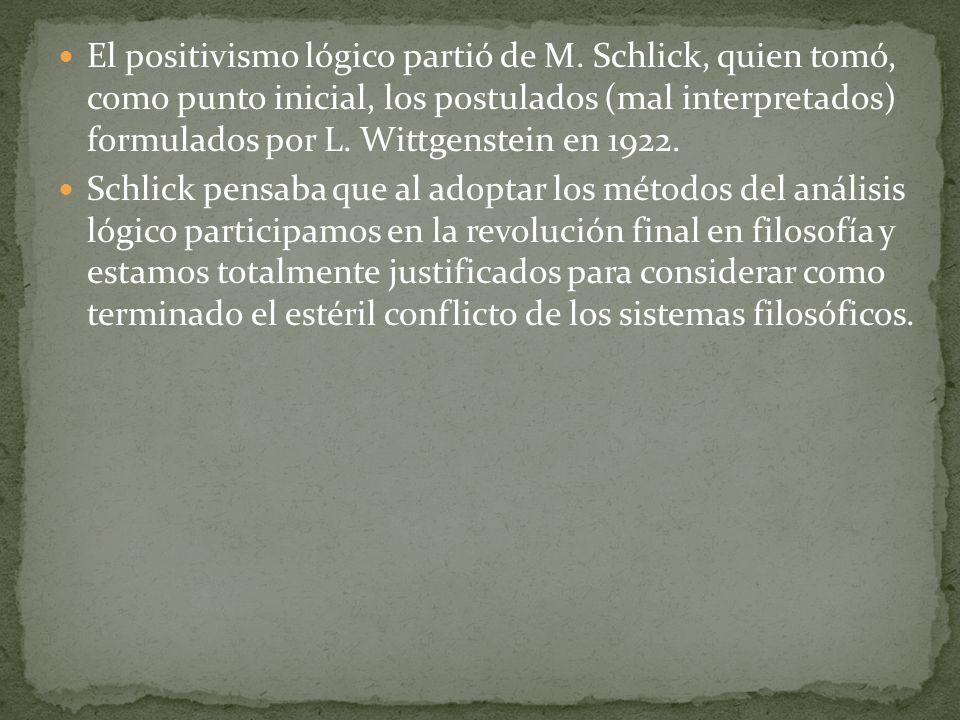 El positivismo lógico partió de M. Schlick, quien tomó, como punto inicial, los postulados (mal interpretados) formulados por L. Wittgenstein en 1922.
