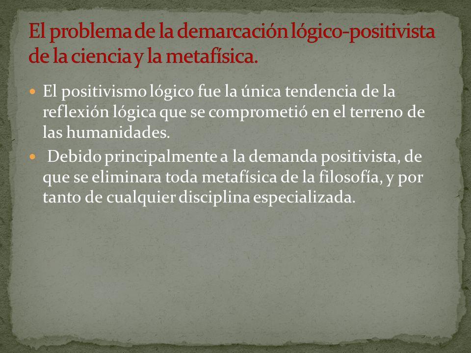 El positivismo lógico fue la única tendencia de la reflexión lógica que se comprometió en el terreno de las humanidades. Debido principalmente a la de