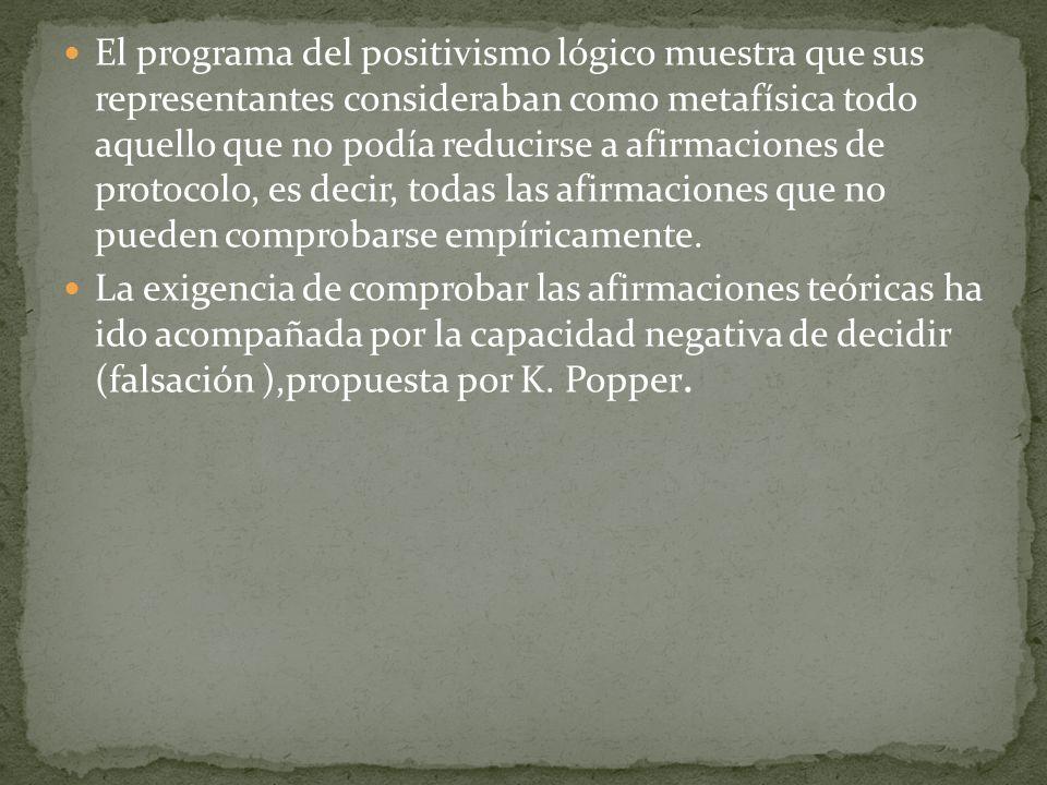 El programa del positivismo lógico muestra que sus representantes consideraban como metafísica todo aquello que no podía reducirse a afirmaciones de p