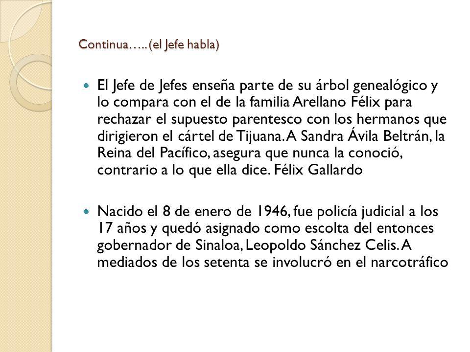 Continua….. (el Jefe habla) El Jefe de Jefes enseña parte de su árbol genealógico y lo compara con el de la familia Arellano Félix para rechazar el su