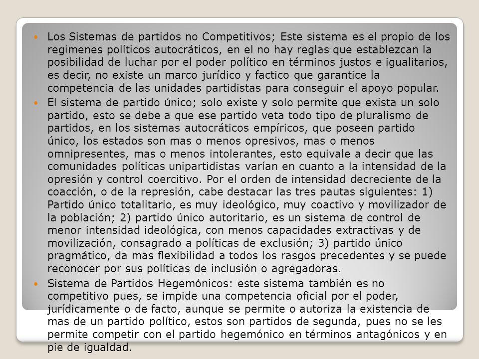 Los Sistemas de partidos no Competitivos; Este sistema es el propio de los regimenes políticos autocráticos, en el no hay reglas que establezcan la po