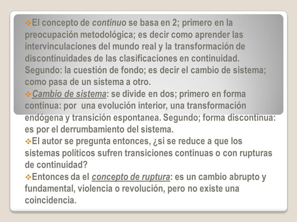 El concepto de continuo se basa en 2; primero en la preocupación metodológica; es decir como aprender las intervinculaciones del mundo real y la trans