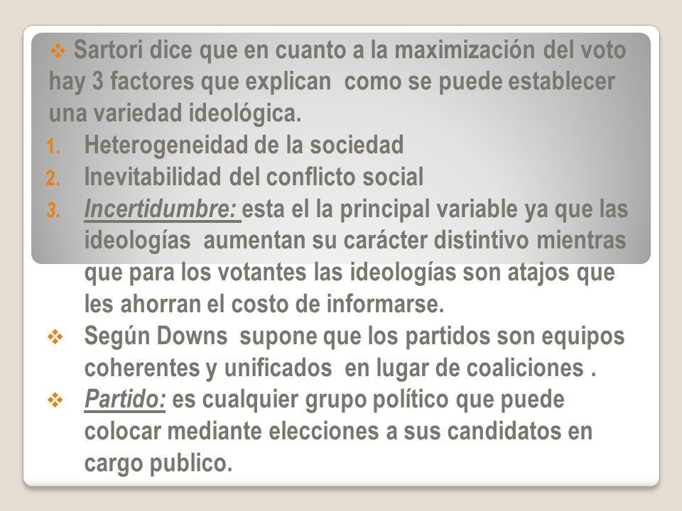 Sartori dice que en cuanto a la maximización del voto hay 3 factores que explican como se puede establecer una variedad ideológica. 1. Heterogeneidad