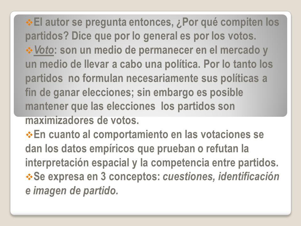 El autor se pregunta entonces, ¿Por qué compiten los partidos? Dice que por lo general es por los votos. Voto : son un medio de permanecer en el merca