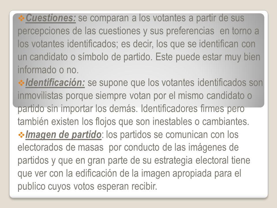Cuestiones: se comparan a los votantes a partir de sus percepciones de las cuestiones y sus preferencias en torno a los votantes identificados; es dec