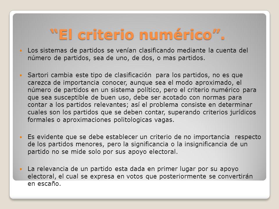 El criterio numérico. Los sistemas de partidos se venían clasificando mediante la cuenta del número de partidos, sea de uno, de dos, o mas partidos. S