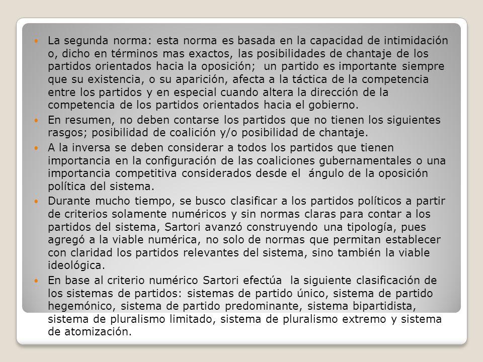 La segunda norma: esta norma es basada en la capacidad de intimidación o, dicho en términos mas exactos, las posibilidades de chantaje de los partidos