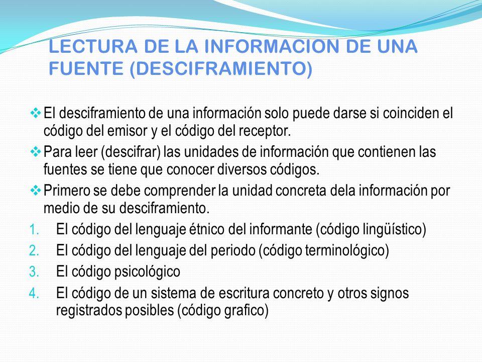 LECTURA DE LA INFORMACION DE UNA FUENTE (DESCIFRAMIENTO) El desciframiento de una información solo puede darse si coinciden el código del emisor y el
