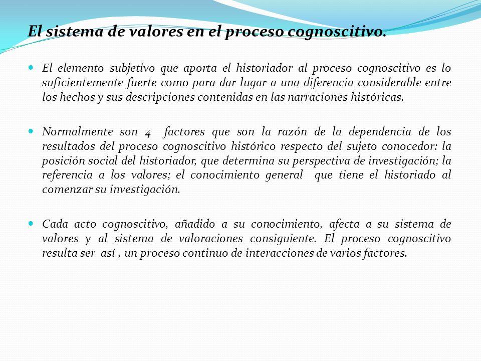 El sistema de valores en el proceso cognoscitivo. El elemento subjetivo que aporta el historiador al proceso cognoscitivo es lo suficientemente fuerte