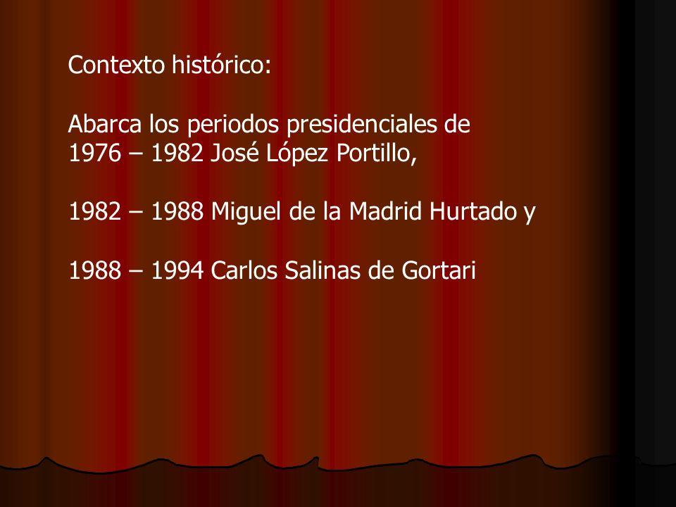 Contexto histórico: Abarca los periodos presidenciales de 1976 – 1982 José López Portillo, 1982 – 1988 Miguel de la Madrid Hurtado y 1988 – 1994 Carlo