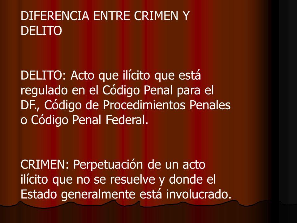 DIFERENCIA ENTRE CRIMEN Y DELITO DELITO: Acto que ilícito que está regulado en el Código Penal para el DF., Código de Procedimientos Penales o Código