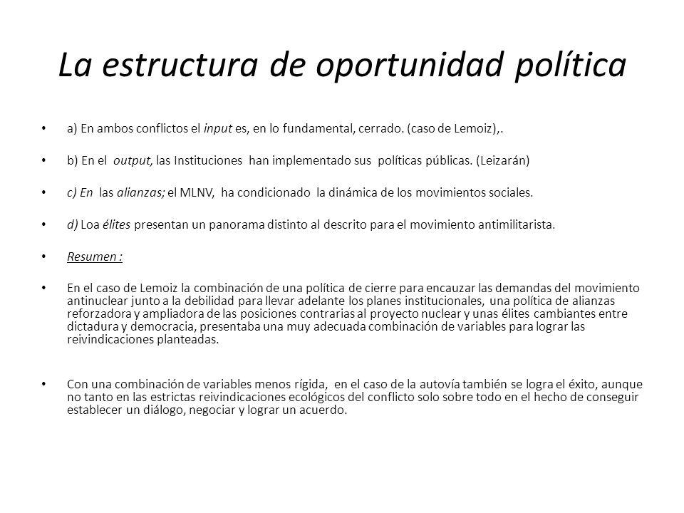 La estructura de oportunidad política a) En ambos conflictos el input es, en lo fundamental, cerrado. (caso de Lemoiz),. b) En el output, las Instituc
