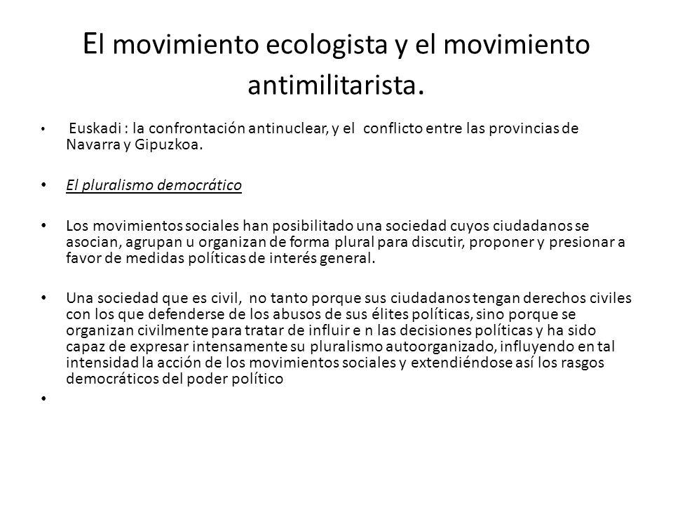 E l movimiento ecologista y el movimiento antimilitarista. Euskadi : la confrontación antinuclear, y el conflicto entre las provincias de Navarra y Gi