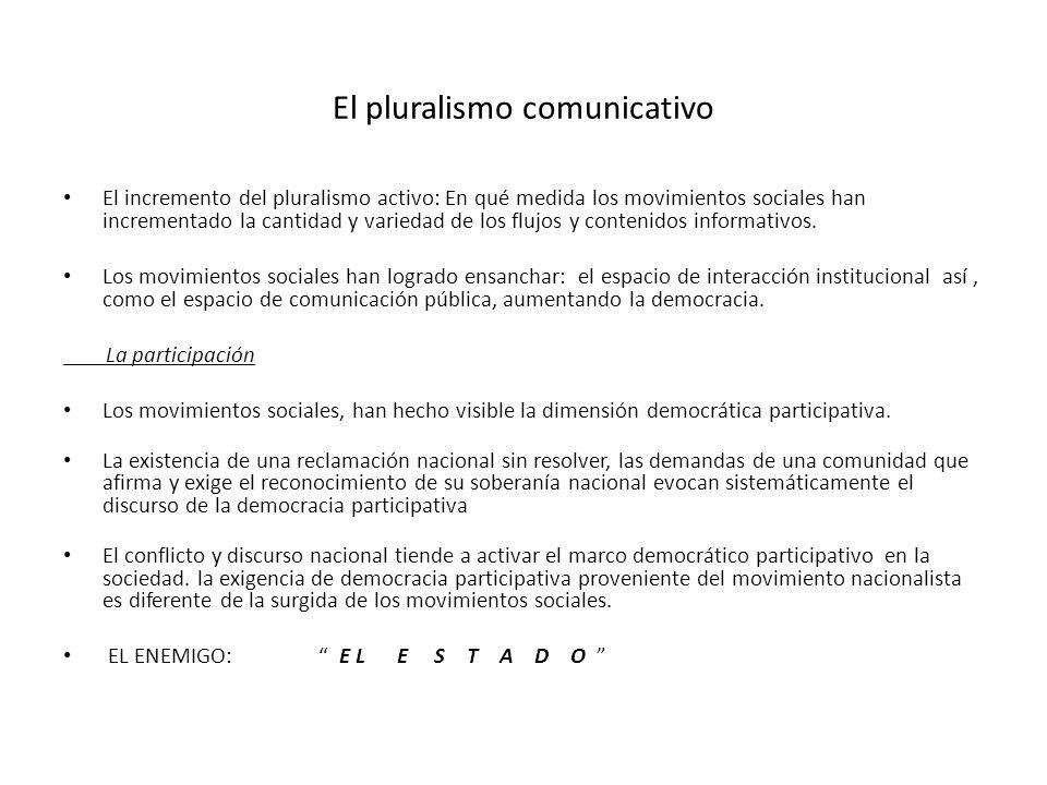 El pluralismo comunicativo El incremento del pluralismo activo: En qué medida los movimientos sociales han incrementado la cantidad y variedad de los