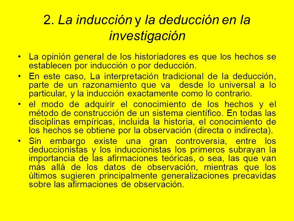 2. La inducción y la deducción en la investigación La opinión general de los historiadores es que los hechos se establecen por inducción o por deducci